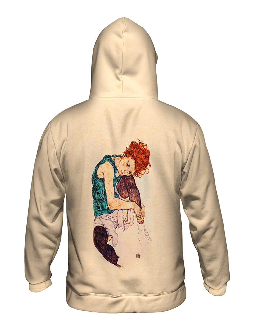Seated Woman with Allover Print Yizzam Mens Hoodie 1921 Egon Schiele