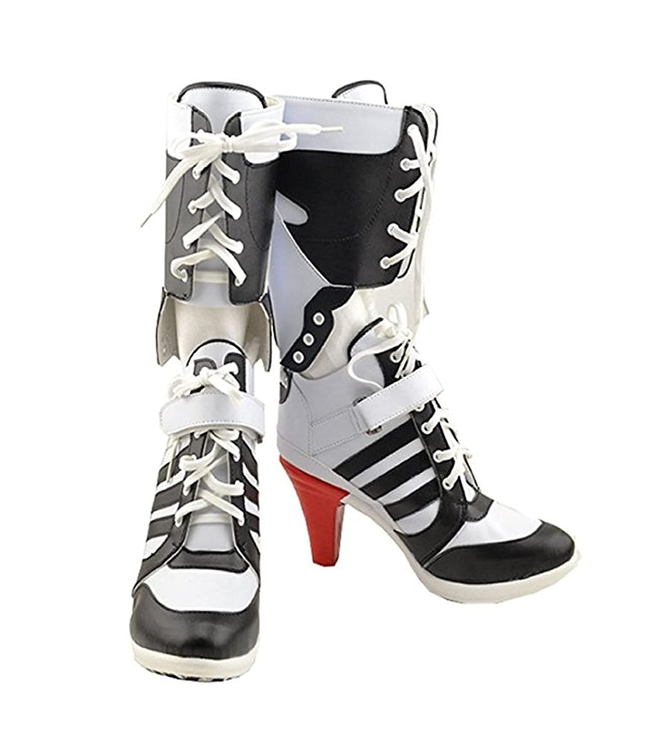 Womens Cosplay Halloween White PU Pleather Shoes High Heel Boots 3.6 incehs