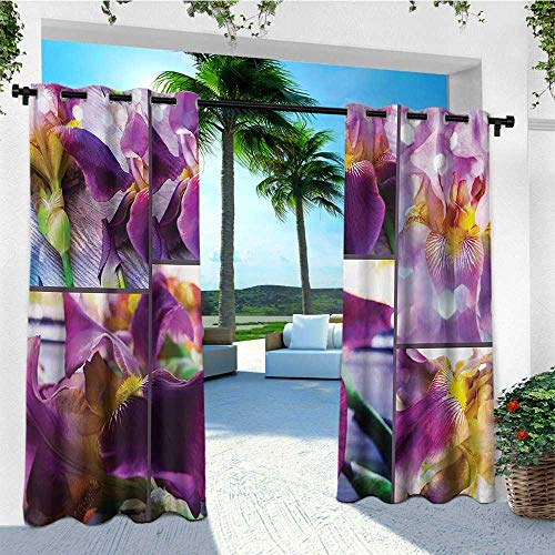 leinuoyi Rustic, Outdoor Curtain Kit, Blooming Iris Flowers Orchids on Rustic Wood Natural Floral Beauty Romantic Image, Set for Patio Waterproof W72 x L96 Inch Yellow Purple