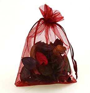 """CMAJOR Organza Bags 100pcs Satin Drawstring Wedding Favor Jewelry Candy Watch Party Gift Pouch (4"""" x 6"""", Burgundy)"""