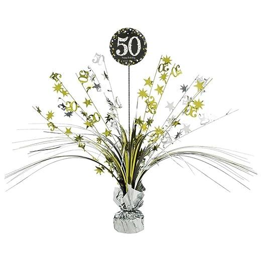 Centro de mesa 50 cumpleaños plata/oro: Amazon.es: Hogar
