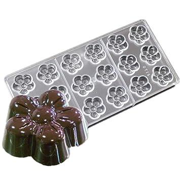 Molde de policarbonato para repostería en casa con 18 cavidades de 5 pétalos con forma de flores chocolate: Amazon.es: Hogar