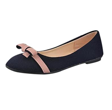 Lady Bowknot Flat Shoes Leisure Sweet Ballet Shoes (6 Blue)