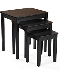 Bay Shore Collection Nesting End Table Set, 3 Piece Black