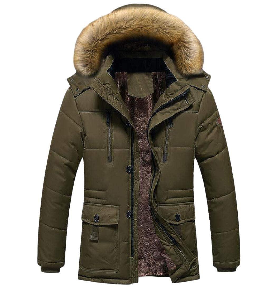 YUNY Men Fur Collar Fleece Hoodie Warm Brumal Mid-Long Coat Jacket Coffee 2XL