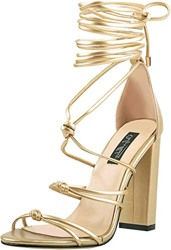 Onlymaker Womens Gladiator Ankle Strap Lace up High Heels Open Toe Stiletto Harmoni Heeled Strappy Sandals