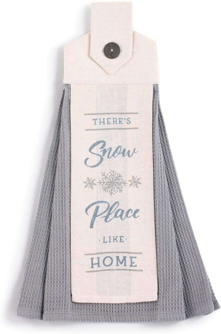 Snow Place Soft Grey 20 x 6 Cotton Linen Holiday Button Loop Tea Towel