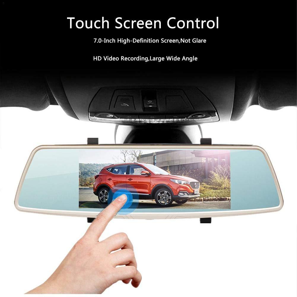 L1006 Grabador de conducción de espejo retrovisor, pantalla táctil de 7.0 pulgadas, lente doble HD de visión nocturna de 170 ° con monitor de estacionamiento Cámara de inversión de grabación en bucle StageOnlin