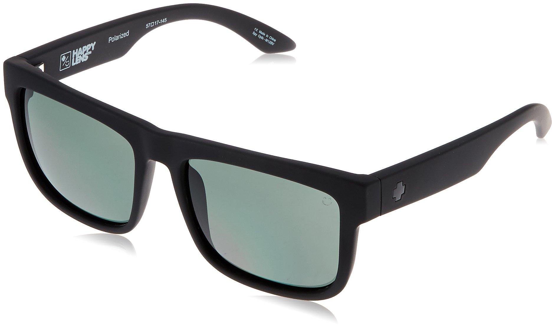 Spy Optic Discord Polarized Flat Sunglasses, Soft Matte Black/Happy Gray/Green Polar, 57 mm