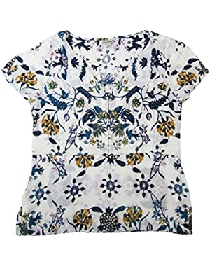 Women's Cold Shoulder Floral Flutter Top