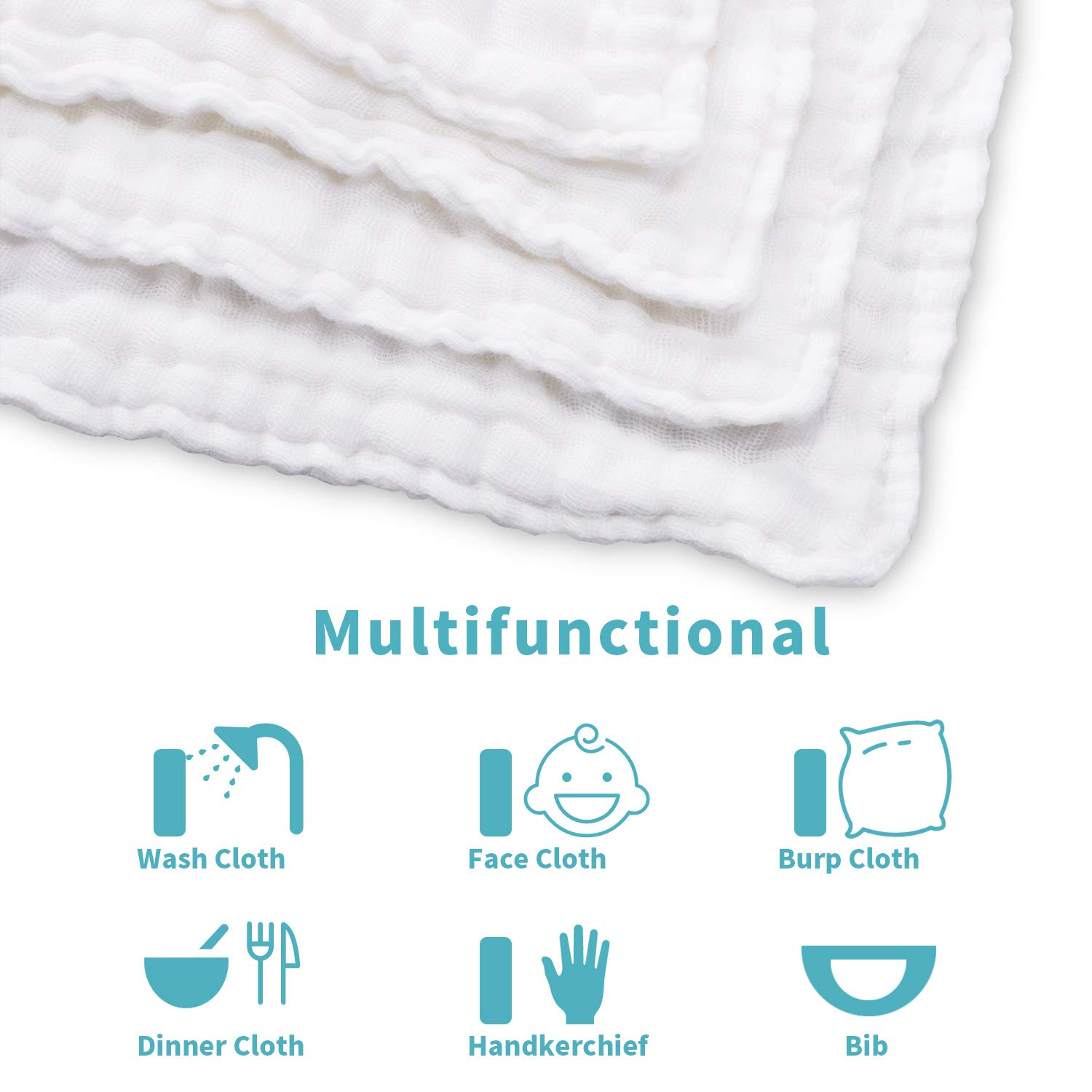 Umiin Baby Washcloths Perfect Baby Gifts White 30 x 30 cm Set of 4 Soft Natural Cotton Muslin Squares Baby Muslin Cloths