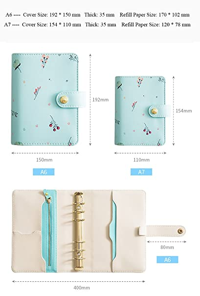 Amazon.com : Labons 6 Round Ring A6 Binder Softcover PU Leather Zippered Personal Organizer Refills for Ruled Dotted Squared Blank Filler Paper Loose Leaf ...