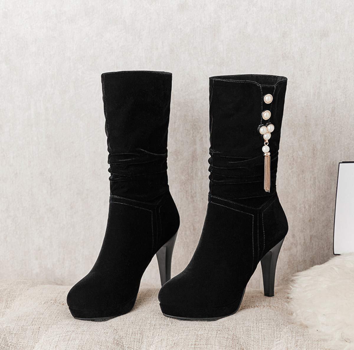 DANDANJIE Damenstiefel High Heel Mid Mid Mid Calf Stiefel Winter Damen Perle Stiletto Absatzschuhe Schwarz 5df244