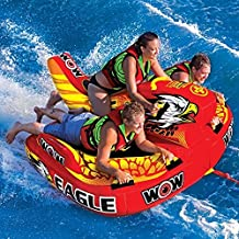 WOW Eagle Inflatable, Towable Tube Lake Water Raft with Tow Rope & Pump by WOW