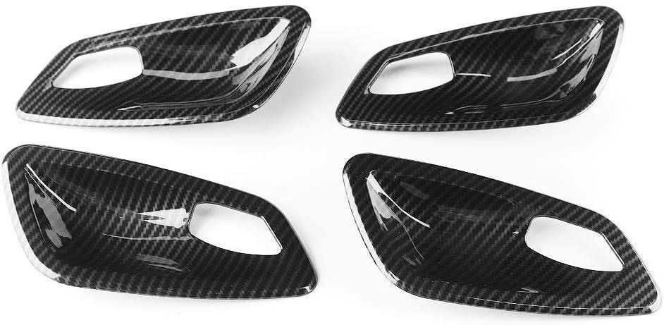 Hlyjoon 4Pcs Couverture de Poign/ée de Porte Int/érieur de Voiture Garniture en Fiber de Carbone Couvercle Ruban Adh/ésif de Porte Bol D/écoration de V/éhicule pour E90 3 S/éries 2005-2012