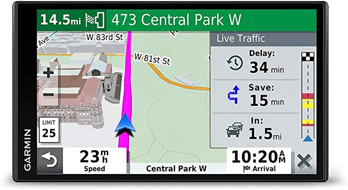 """Garmin DriveSmart 65 & Traffic:GPS navigator with a 6.95"""" display, hands-free calling, included traffic alerts and information to enrich road trips"""