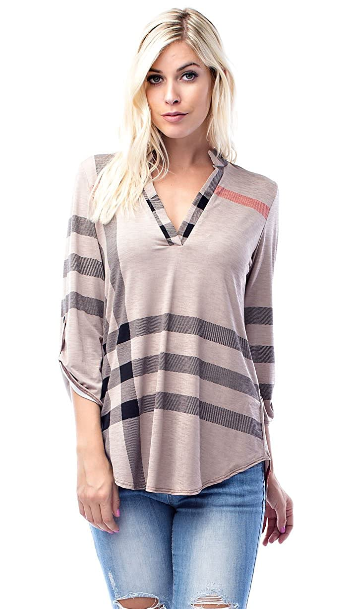 Allora Betsy Red Couture Women's Notch Neck Tunic Top (S-3X)