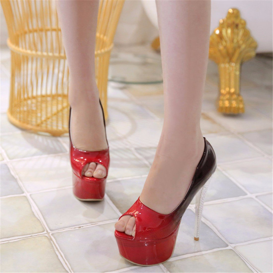 Donna Sandali Sandali Sandali tacco alto fine con sandali bocca pesce sandali modello nightclub scarpe, giallo 36 Red 122896