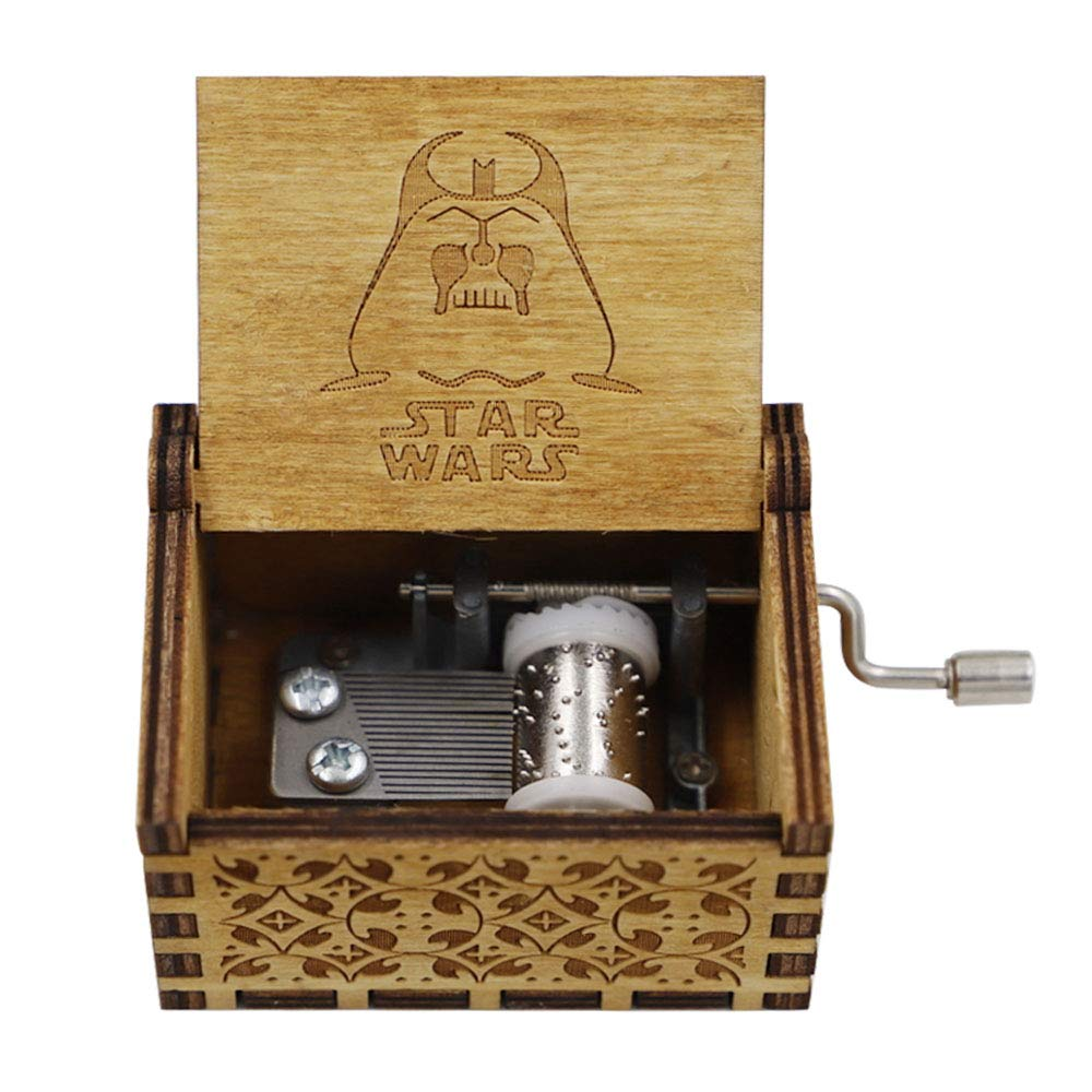 LA-PIN Wood Musical Box, Antique Carved Wooden Music Box Hand Cranked Music Craft - Star Wars Main Theme