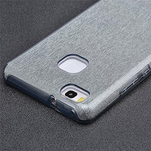 Sunroyal ® Caja del Teléfono para Huawei P9 Lite La Caja del Gel de Silicona Transparente de los Lados de TPU de Bling del Brillo Ultra Delgado Carcasa Funda para Huawei P9 lite 5.2 +Transparente Pro B-04