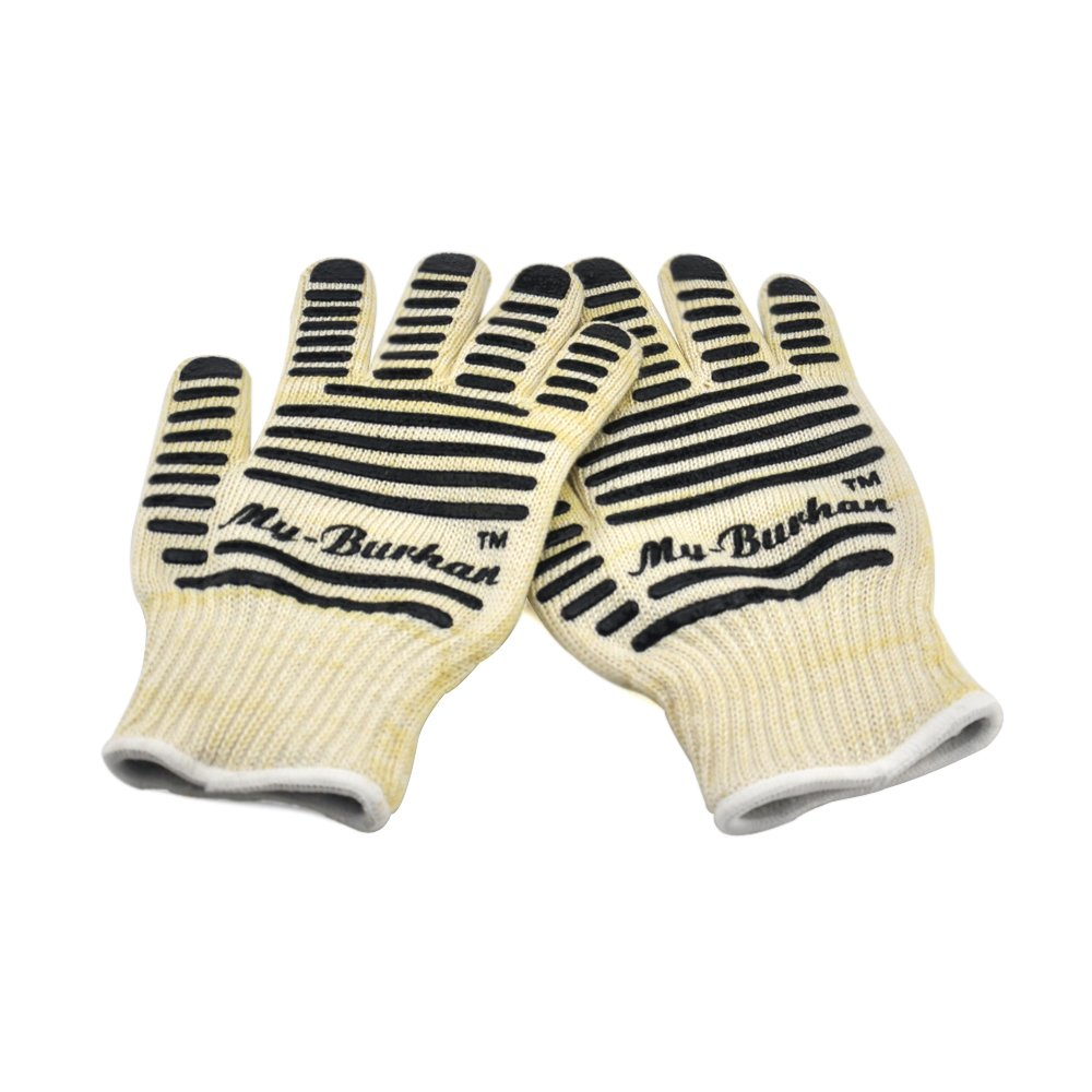 Oven Mitts 932°F Extreme Heat Resistant Oven Gloves, My-Burhan BBQ Gloves for Cooking Grilling Baking Hot Surface Handler 1 Pair Gift Packing