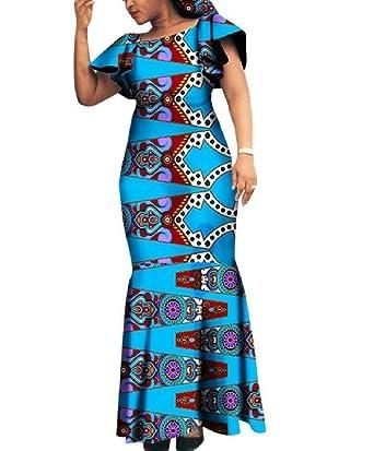 9909af9fd9a Amazon.com  Winwinus Women Party Plus Size African Print Dashiki Batik Slim  Maxi Dress  Clothing