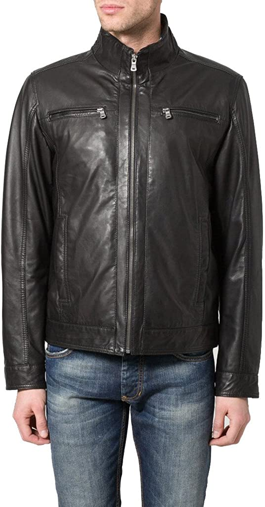 New Men Genuine Sheep Leather Slim Fit Biker Jacket LF376