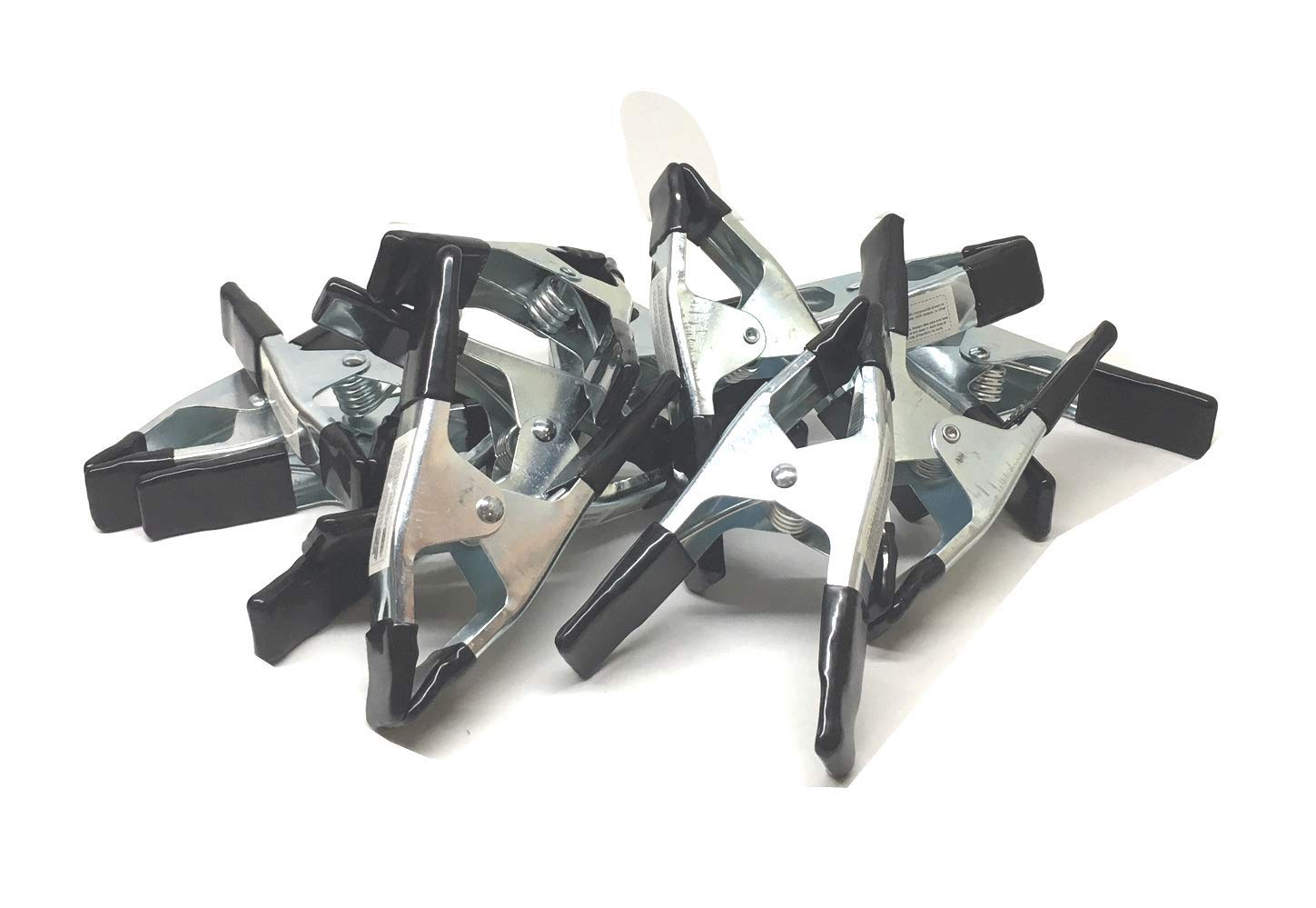 6'' Inches Clamp Heavy Duty Metal Spring Clamps - Black PVC Coated (Black 12pc)