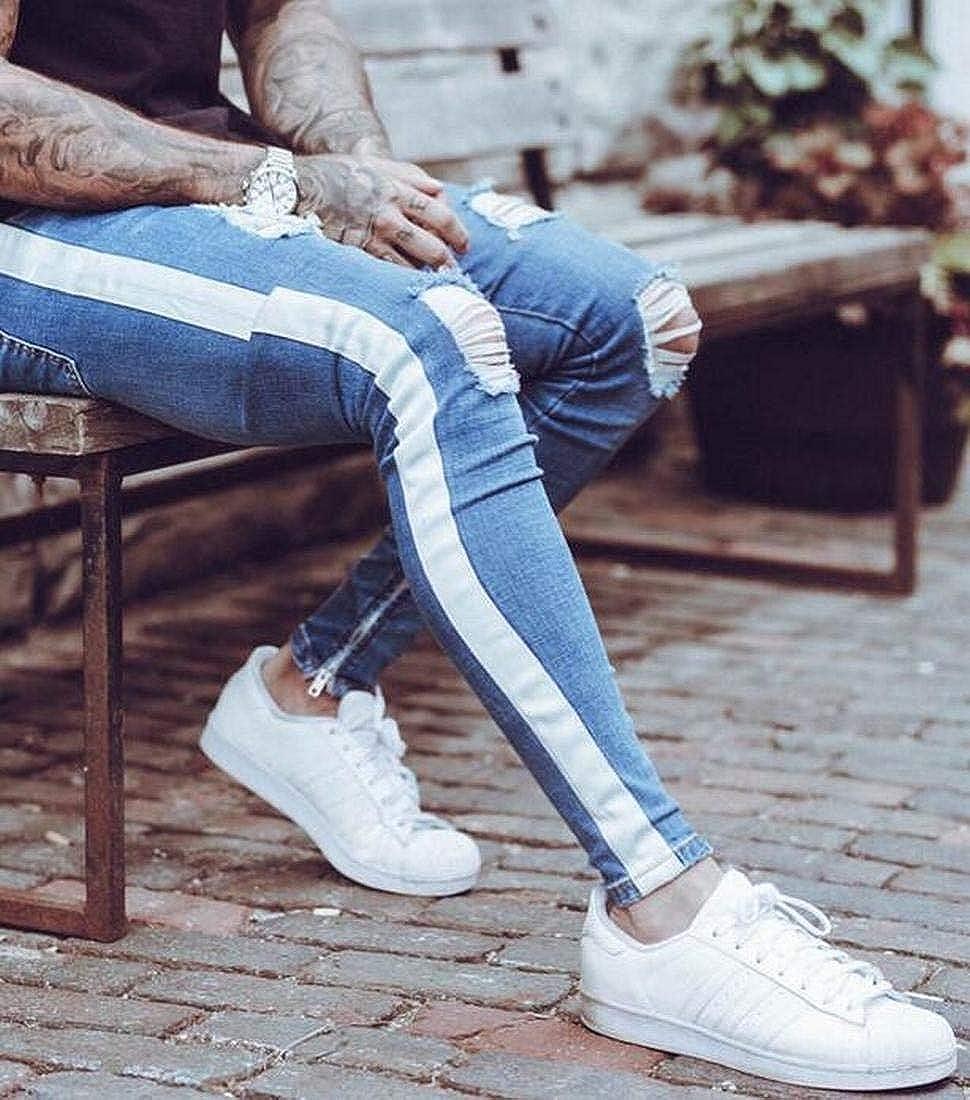 Pivaconis Mens Patchwork Fringes Zip Trim Knee Cut Holes Straight Plus Size Jeans Denim Pants