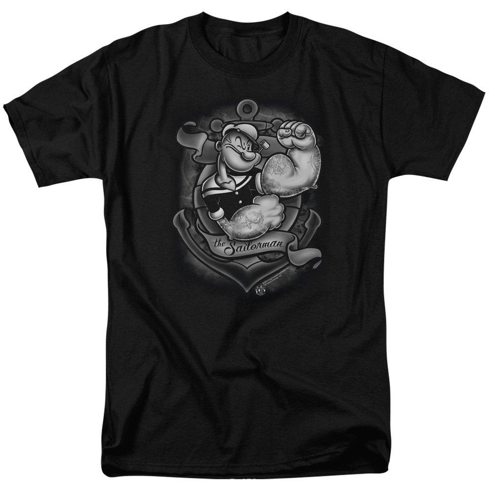 Popeye Anchors Away S Short Sleeve Shirt Black Md