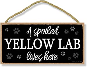 Honey Dew Gifts A Spoiled Yellow Lab Lives Here 5 inch by 10 inch Hanging Labrador Retriever Gifts, Wall Art, Decorative Wood Sign Home Decor, Yellow Labrador Gifts