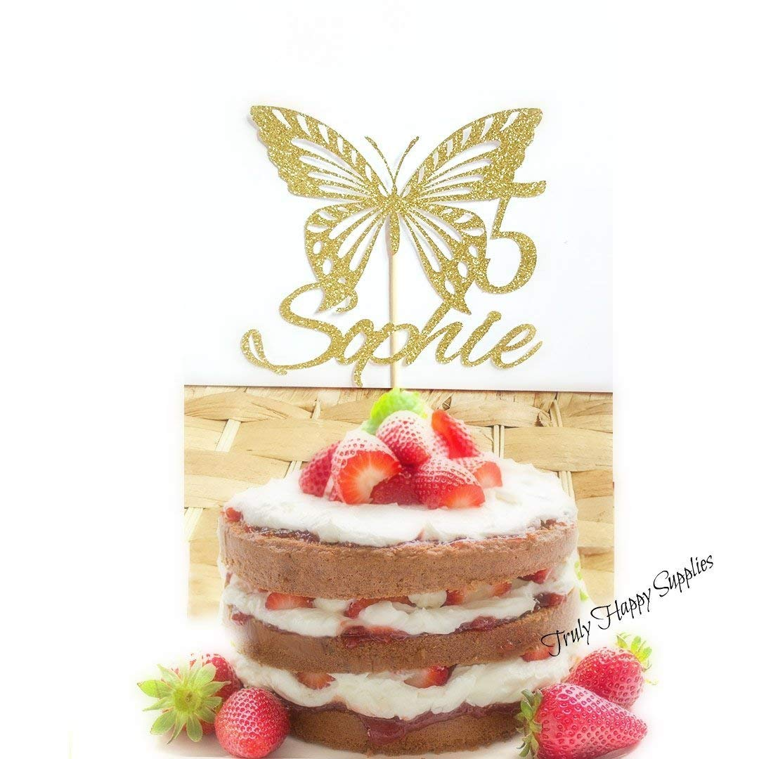 Sensational Butterfly Birthday Cake Topper Personalised Custom Name And Age 1 Personalised Birthday Cards Petedlily Jamesorg