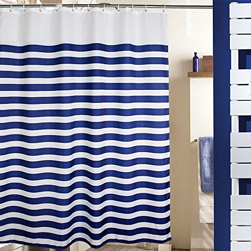 MangGou Fabric Shower Curtain,Nautical Stripes Shower Curtain Liner,Waterproof Polyester Bathroom Curtain With 12 Hooks,Mildew resistant,Machine Washable,Navy Blue and White,72 x 72 inch