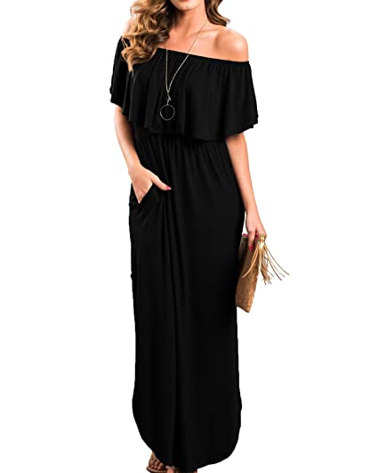 7eba7ffa829 Chuanqi Womens Summer Casual Off The Shoulder Dresses Elegant Party Maxi  Dress with Pockets Black