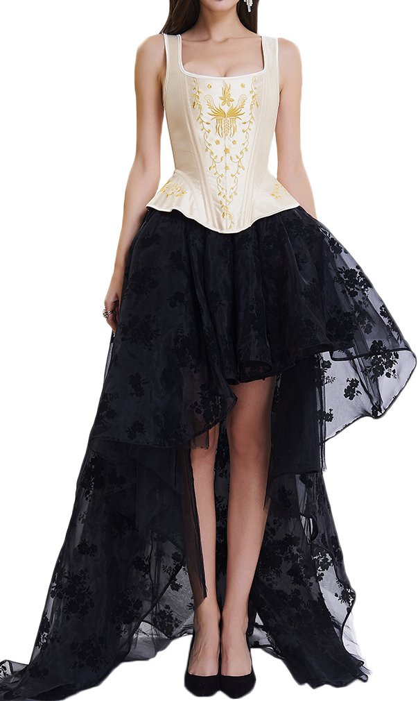 EUDOLAH Damen Schwarz Korsagenkleid Gothic Taille Korset Lang Rock Hauch Bluse Mini Kleid Korsett kurz Partykleid Steampunk-Kostüm inkl. Rock und Korsett Top