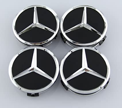 Amazon.com: MERCEDES SET OF 4 BLACK CENTER WHEEL HUB CAPS 75MM COVER CHROME EMBLEM CAP LOGO: Automotive