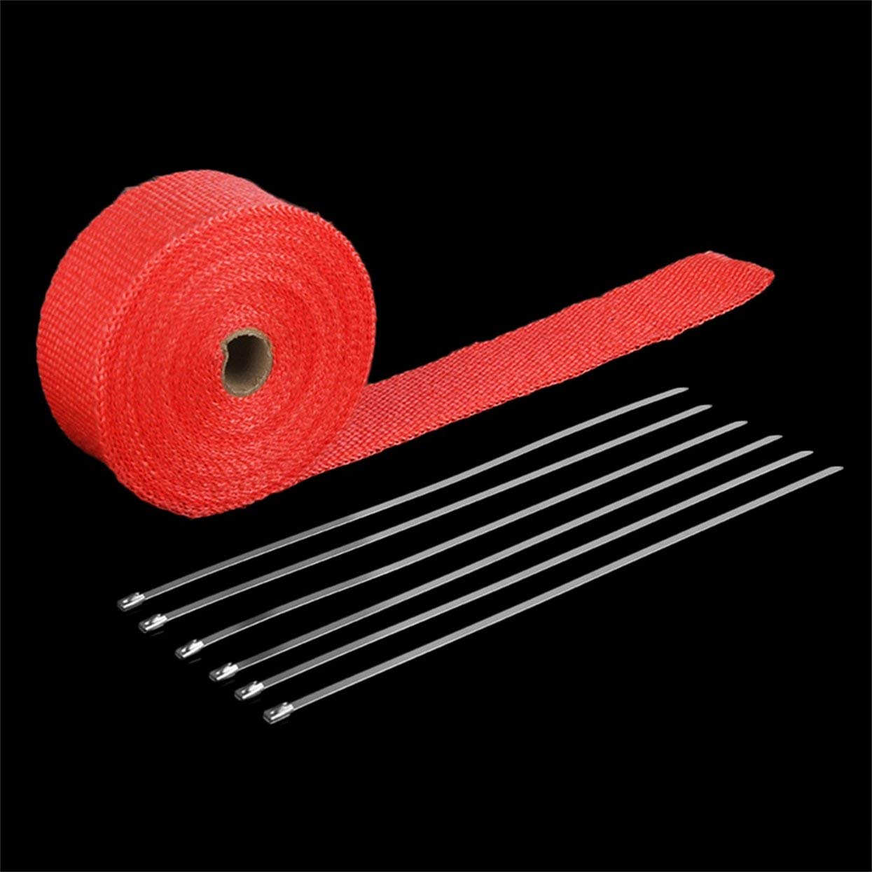 Rollo de fibra de vidrio, colector de escape, fibra de vidrio, cinta de envoltura té rmica con 6 lazos, kit de colectores de escape, cabezales, suministros, 1.5 mm * 50 mm * 5 m, rojo cinta de envoltura térmica con 6 lazos LoveOlvidoE