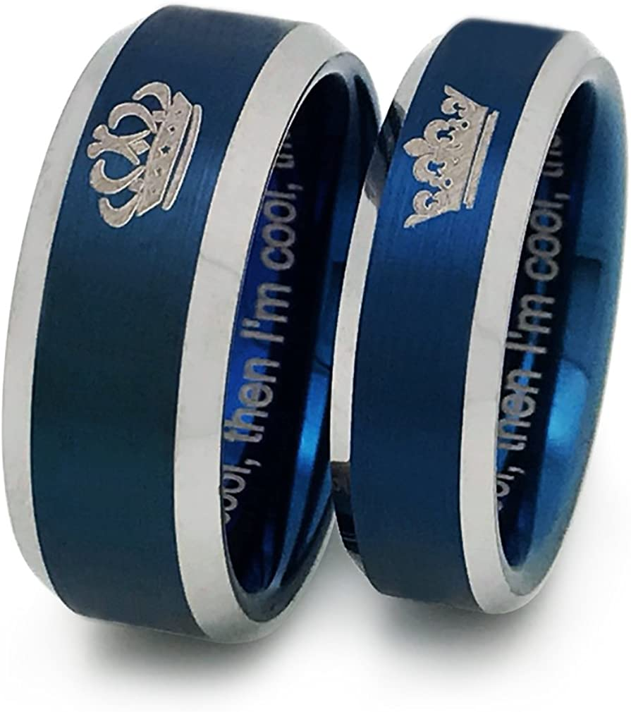 Kriskate & Co. King and Queen Tungsten Rings, Personalized Couples Ring Set, His and Hers Tungsten Wedding Bands, Anniversary Rings TCR383