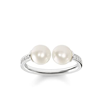75cad4eb14ef Thomas Sabo Women Pearl Ring 925 Sterling Silver TR2078-167-14   Amazon.co.uk  Jewellery