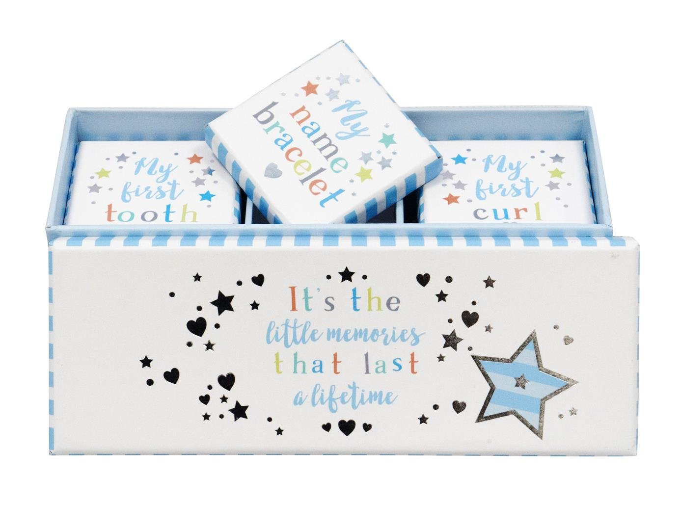 Baby Boy Tooth, Curl & Bracelet Keepsake Box Set Two Up Two Down