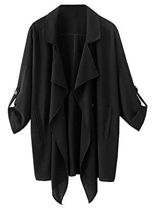Futurino Women's Open Front Rool Up Sleeves Waterfall Cardigan Jacket