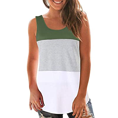 KYLEON Tops for Women Summer U-Neck Tank Tops Sleeveless Color Block Stripe Blouse Casual Tee Loose Fit Vest: Clothing