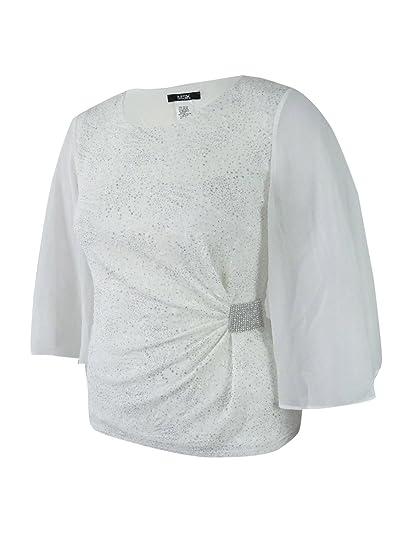 f73558f7f614 MSK Women's Rhinestone Flutter-Sleeve Metallic Blouse (L, Yvory/Silver)