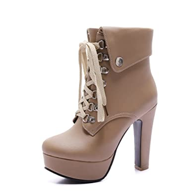 Women's Closed Round Toe High Heels Soft Material Low-Top Solid Boots