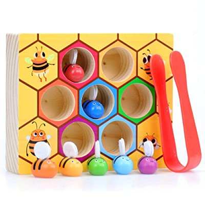 WOOD CITY Toddler Fine Motor Skill Toy,Bee to Hive Matching Game, Wooden Color Sorting Toy for Toddler 2 3 Years Old, Montessori Preschool Learning Toys Gift for Children: Toys & Games