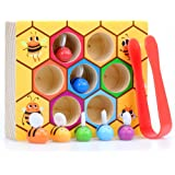 WOOD CITY Toddler Fine Motor Skills Toys,Bee to Hive Matching Game, Wooden Color Sorting Toy for Toddler 2 3 Years Old…