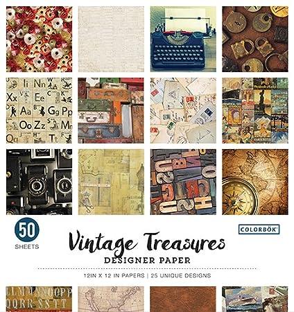 Amazon Colorbok 68117e Designer Paper Pad Vintage Treasures 12