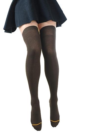 930c8e206 Tengo Women Girls Cotton Thigh High Socks Juniors Knit Boot Socks Leg  Warmer 1-3 Packs(Brown) at Amazon Women s Clothing store