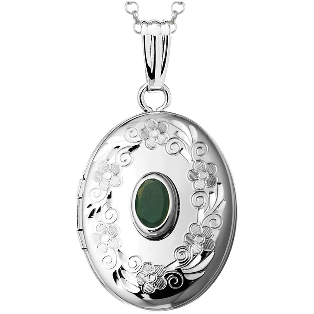 Finejewelers Sterling Silver Oval Locket Pendant Necklace with Genuine Emerald May Birthstone