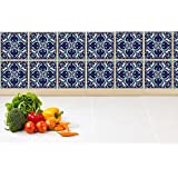 Tiles Stickers Tiles for Stairs Tiles for Kitchen Tiles for Bathroom Tiles for Fridge Moroccan Ornaments in Blue Colors PACK OF 30 (4 x 4 Inches)